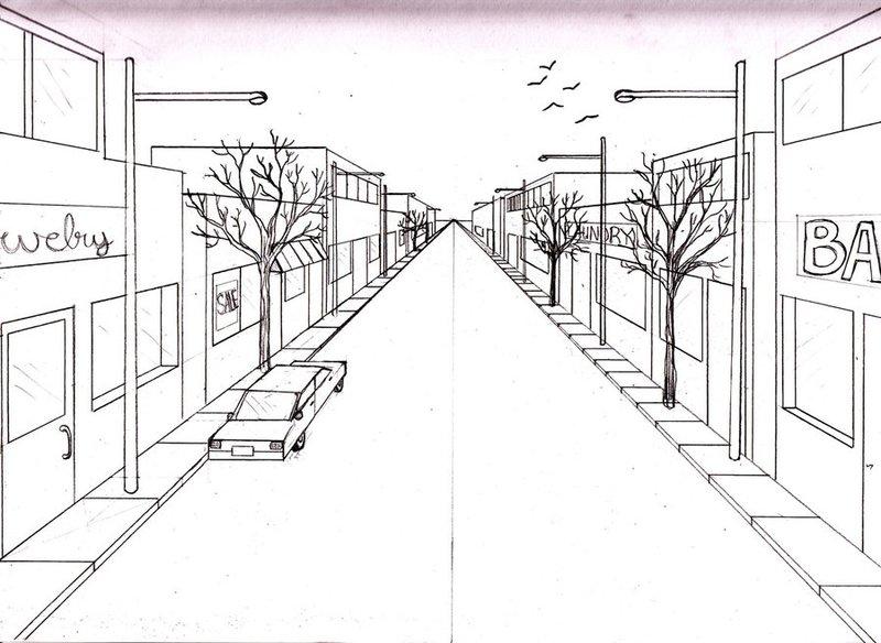 зимний рисунок улицы города карандашом для начинающих при