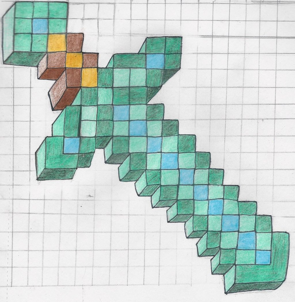 Нарисовать майнкрафт по клеточкам картинки карандашом дома поэтапно нем