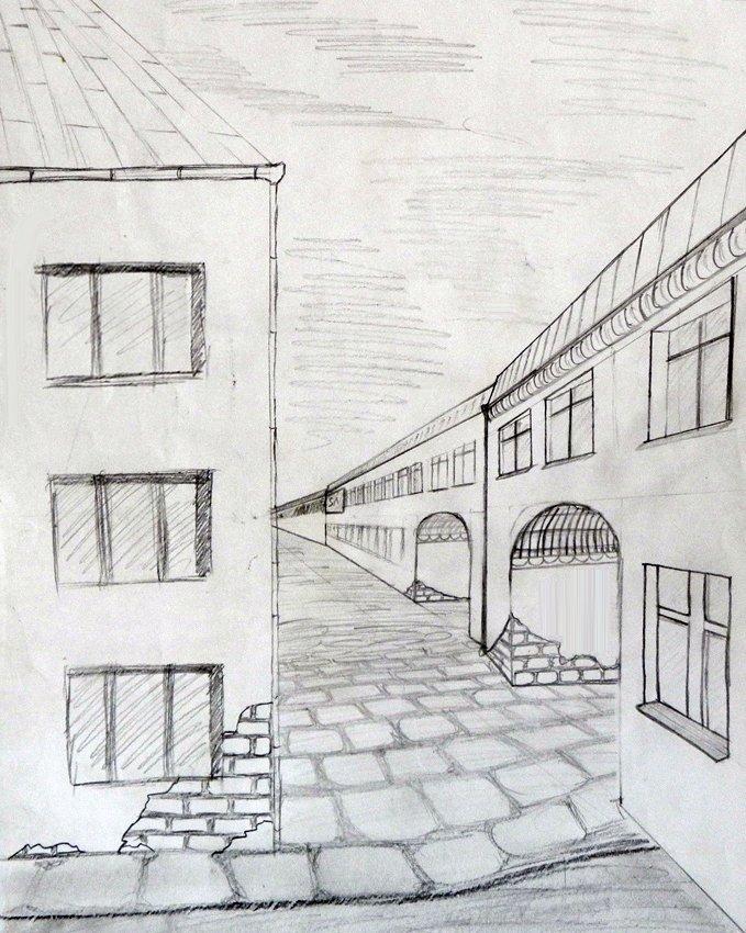 рисунок улицы города карандашом для начинающих практически лишена