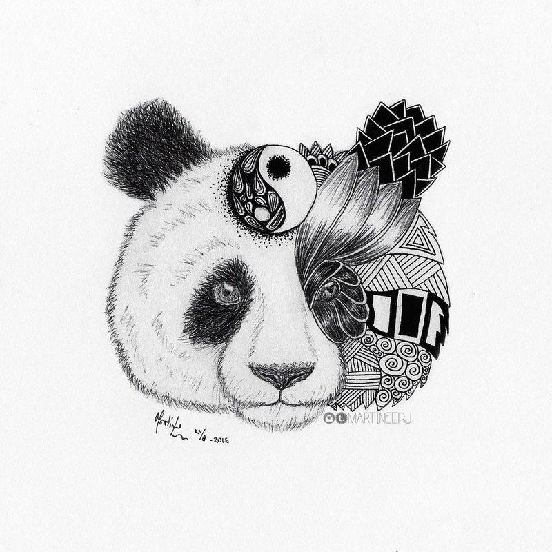 картинки милых панд карандашом легко