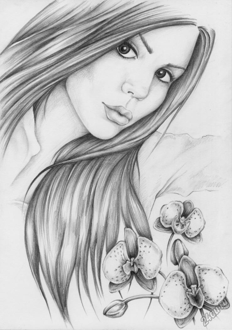 Картинки девушек карандашом для срисовки