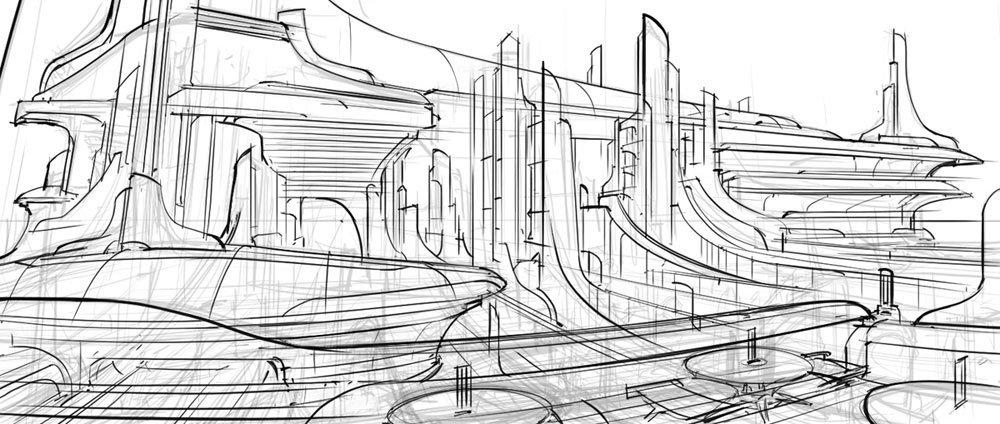 Фантастический город рисунки карандашом 6