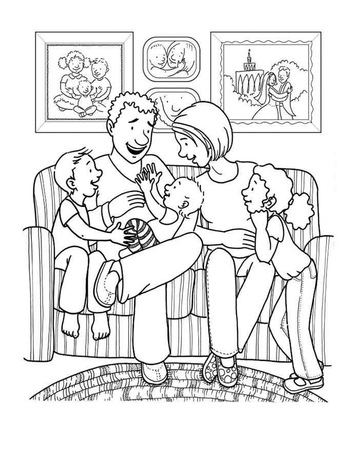 Раскраска картинки семья