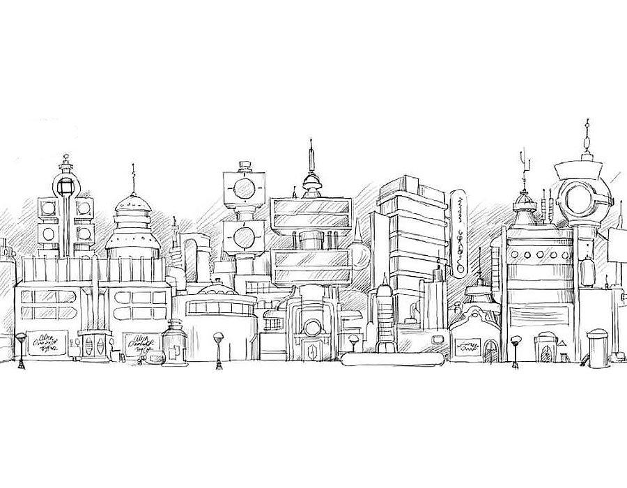 рисунки черно белым карандашом на тему город строился абы для