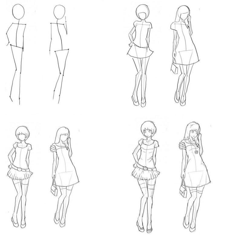 Рисунки человека поэтапно в полный рост