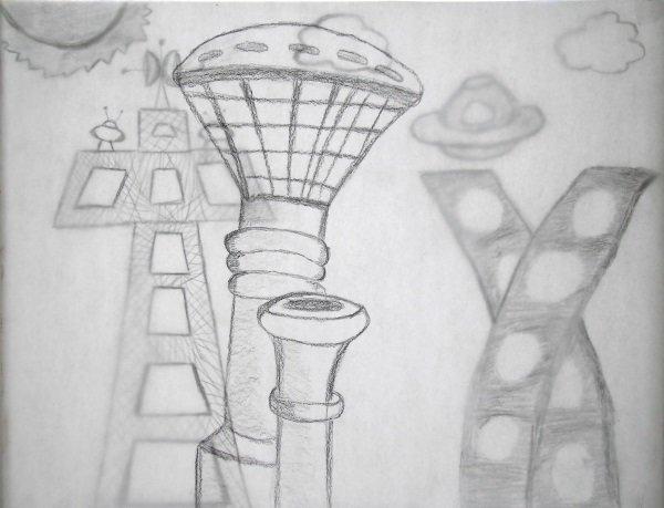 Фантастический город рисунки карандашом, член транса крупным планом