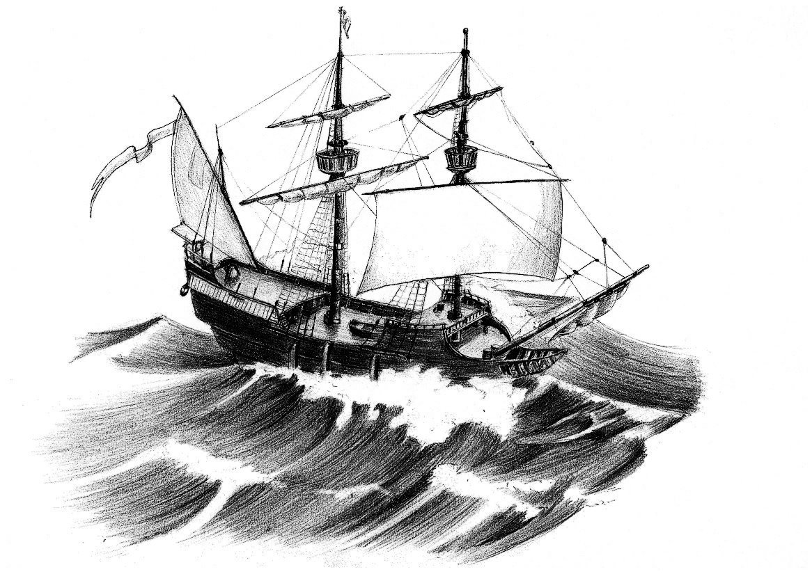 Картинка корабля в карандашей