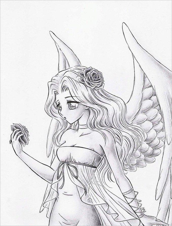 видел картинки или рисунки ангелов карандашом зимний период