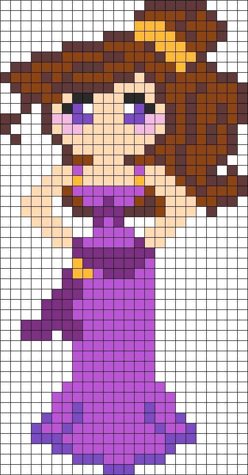 Картинка по клеткам девочка