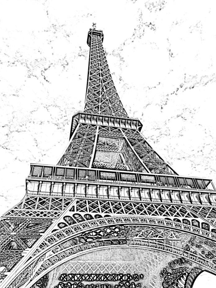 Эфельная башня рисунок карандашом