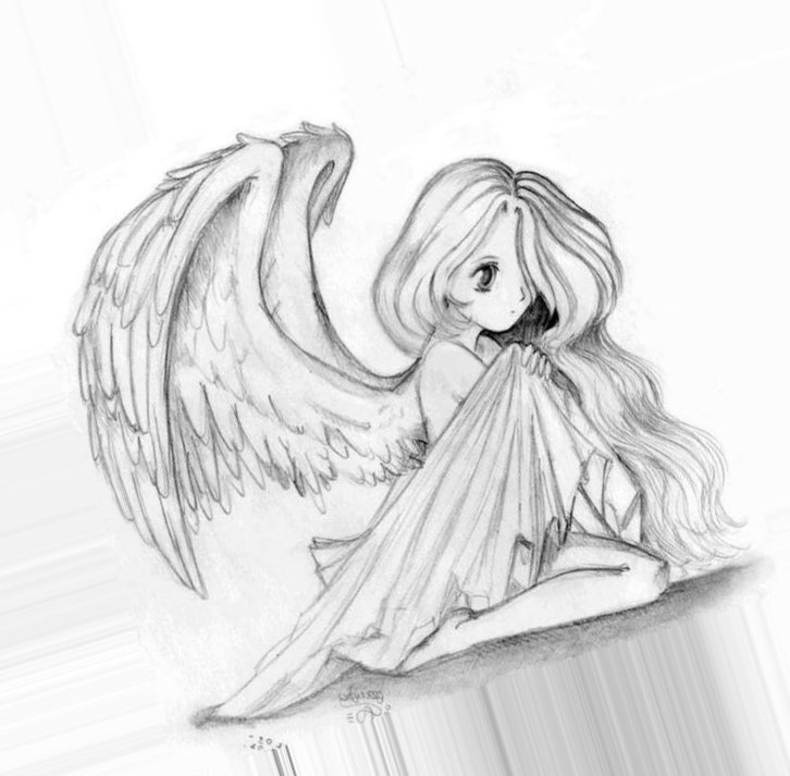Грусти, девушка ангел картинки для срисовки