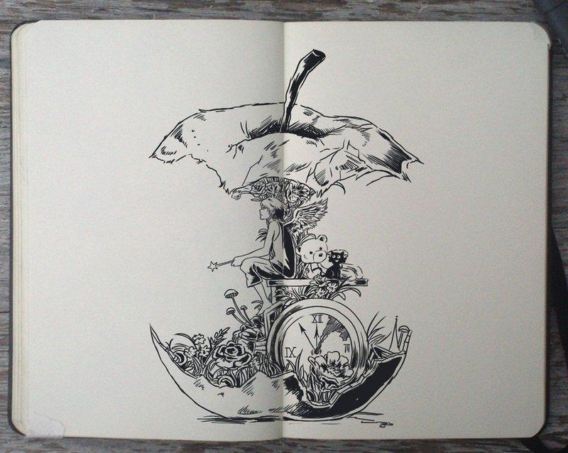 Рисунки черной ручкой для скетчбука