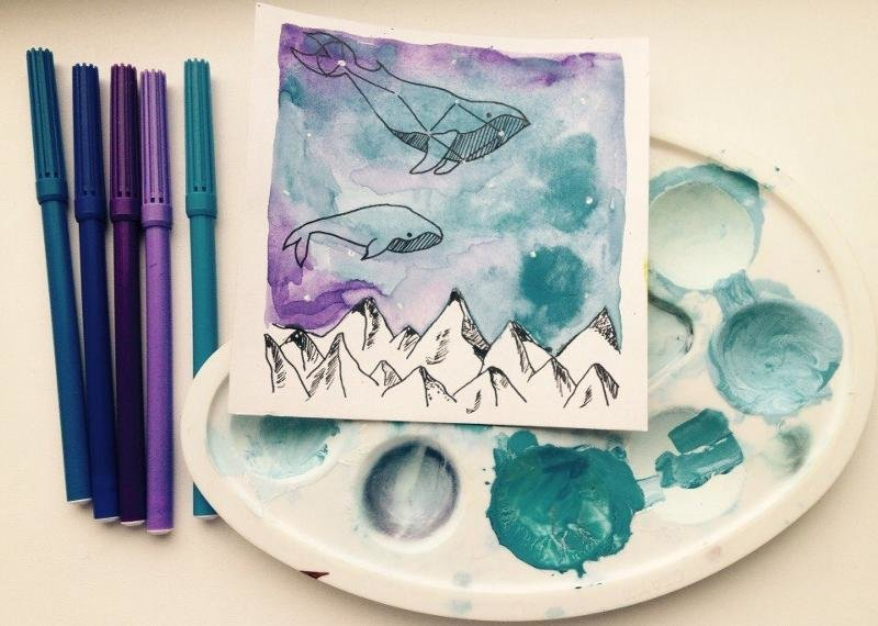 Картинки для срисовки в скетчбук легкие красками