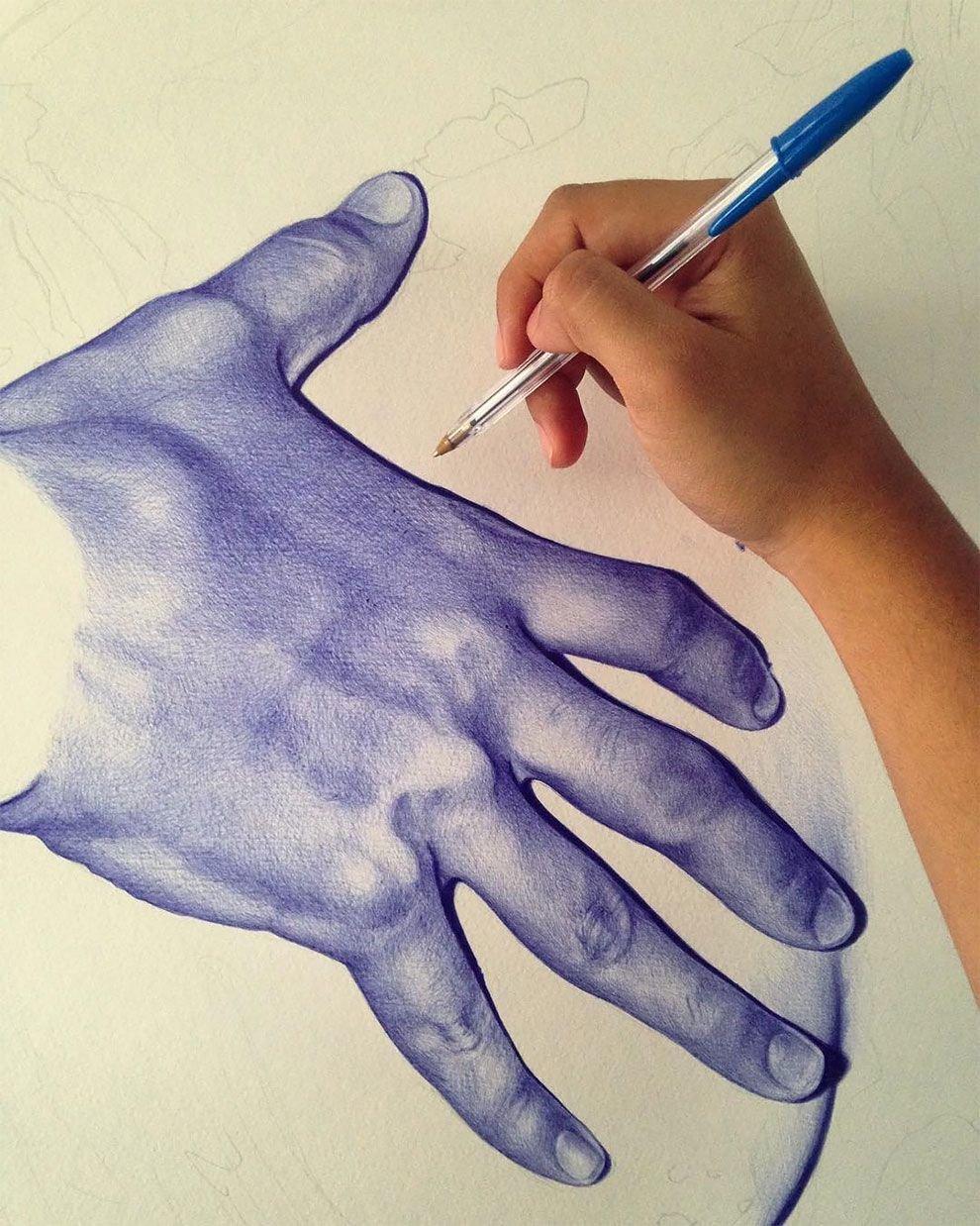 красивые рисунки шариковой ручкой для начинающих одной части