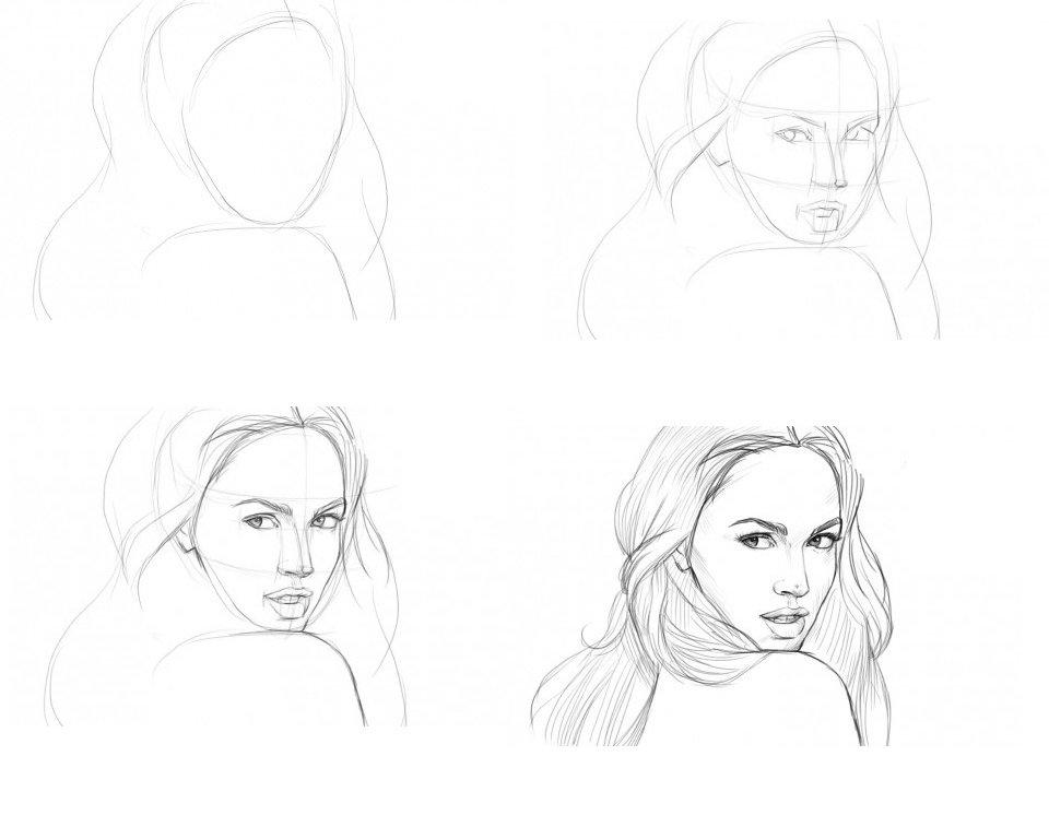 Картинки для срисовки карандашом люди для начинающих поэтапно