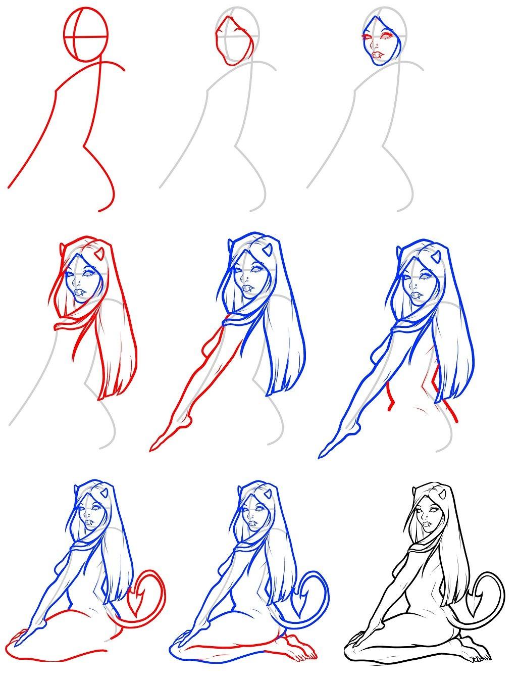 Картинки карандашом поэтапно девушку