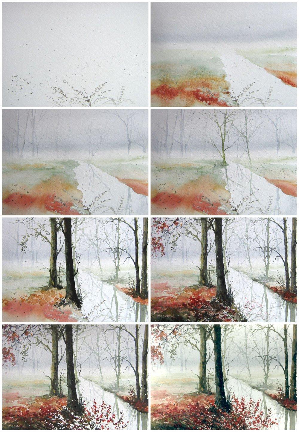 Картинки поэтапного рисования акварелью