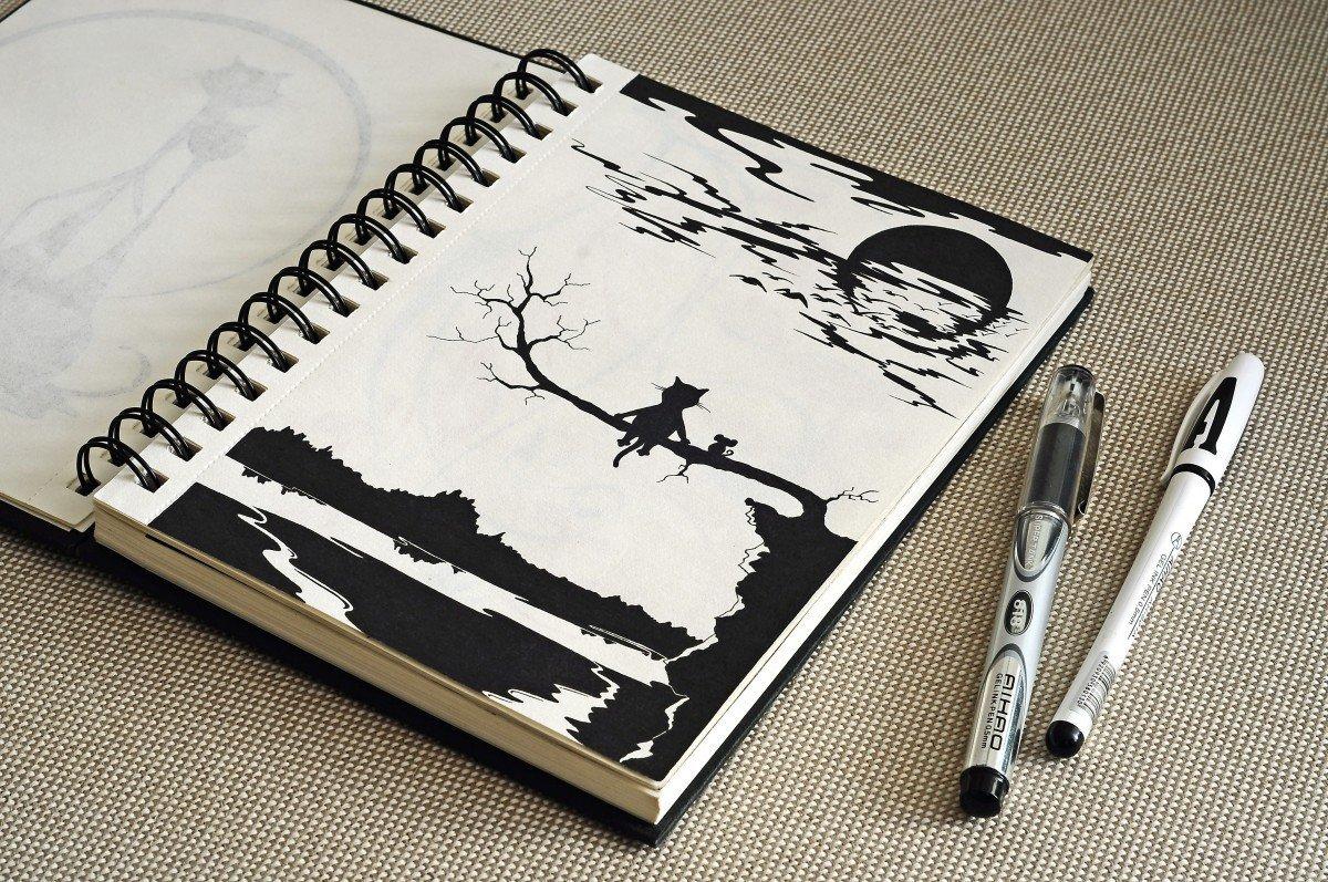 картинки идеи для скетчбука черной ручкой легко менее