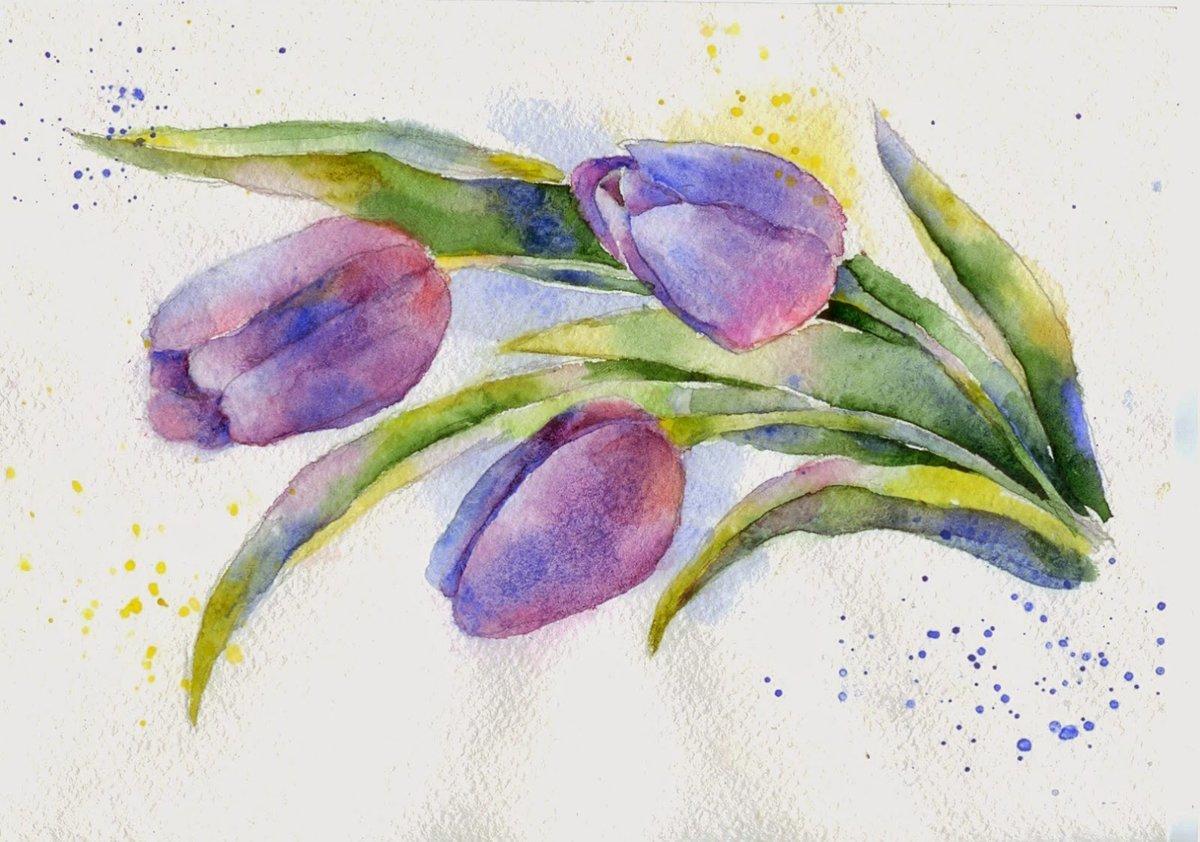 рисуем цветы акварелью картинки дадут