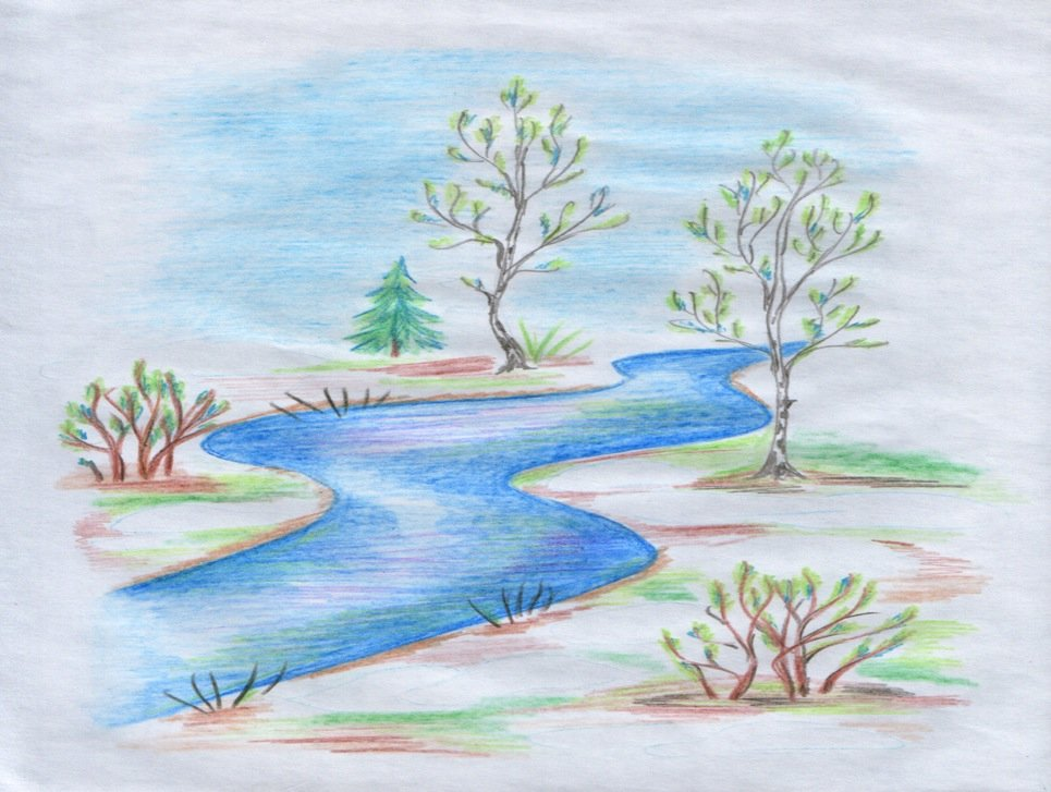 Природа весна рисунок