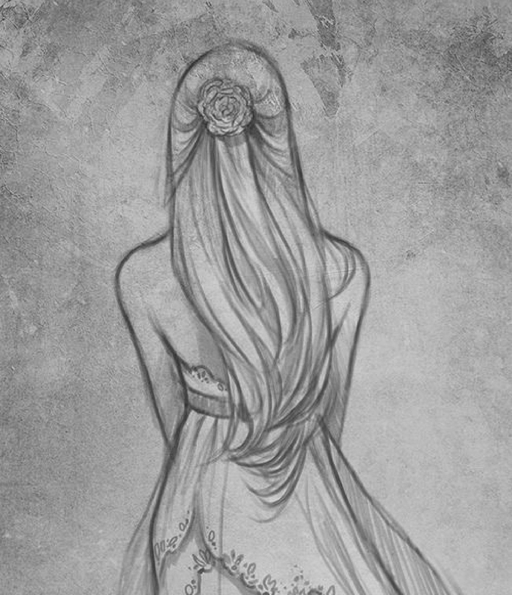 Картинка девушка со спины нарисованная карандашом