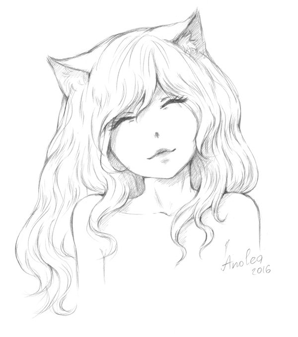 Девушка котик аниме карандашом