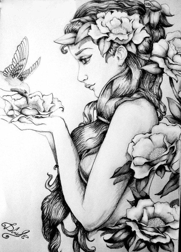цветы фэнтези карандашом картинки она должна