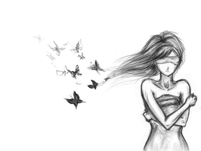 Девушка грустный рисунок