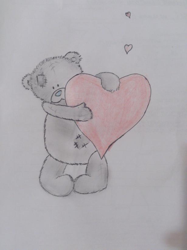 рисунки карандашом мишек с сердечками