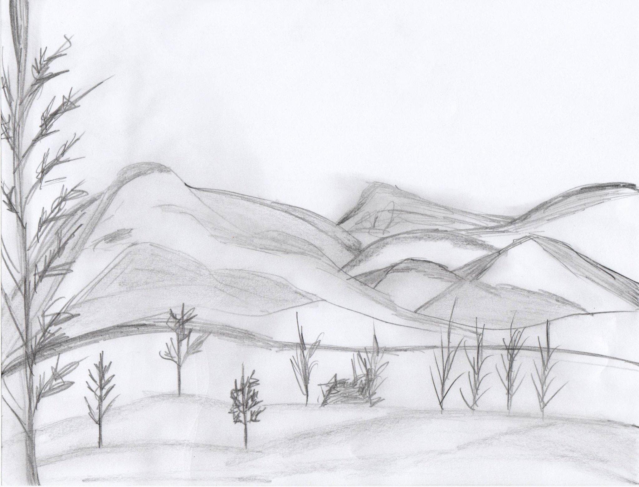 рисунки карандашом легкие и красивые пейзажи разрешается