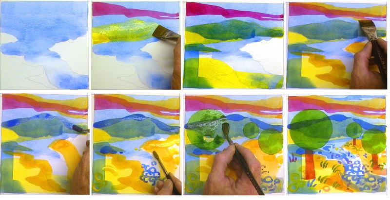 Рисунки акварелью для начинающих поэтапно