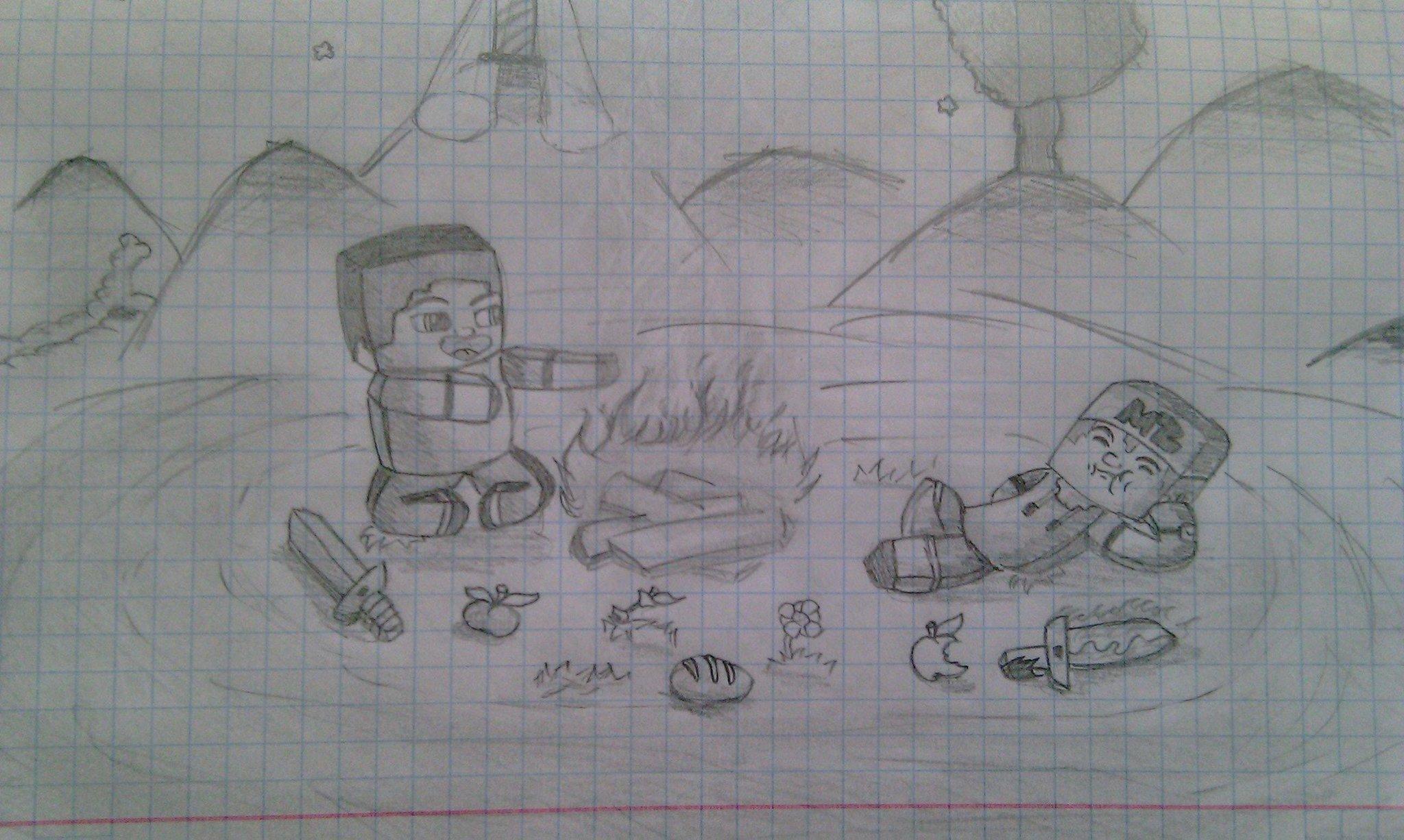 Картинки на тему майнкрафт карандашом