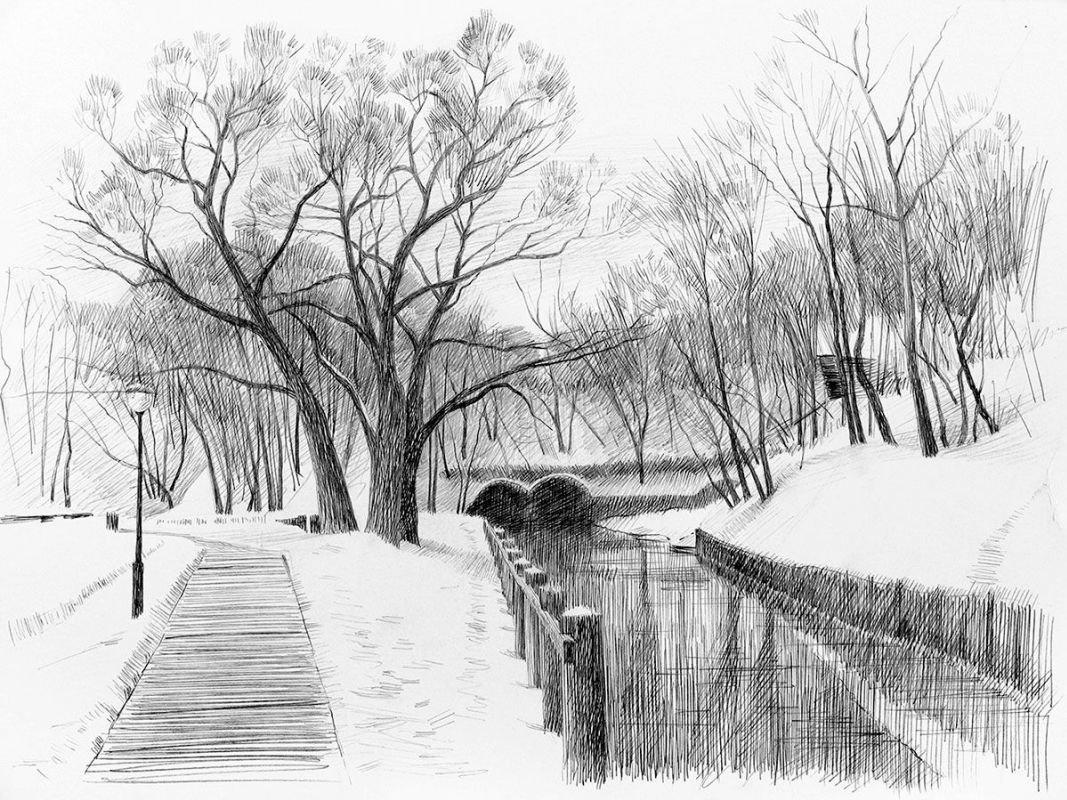 Картинки нарисовать карандашом парк