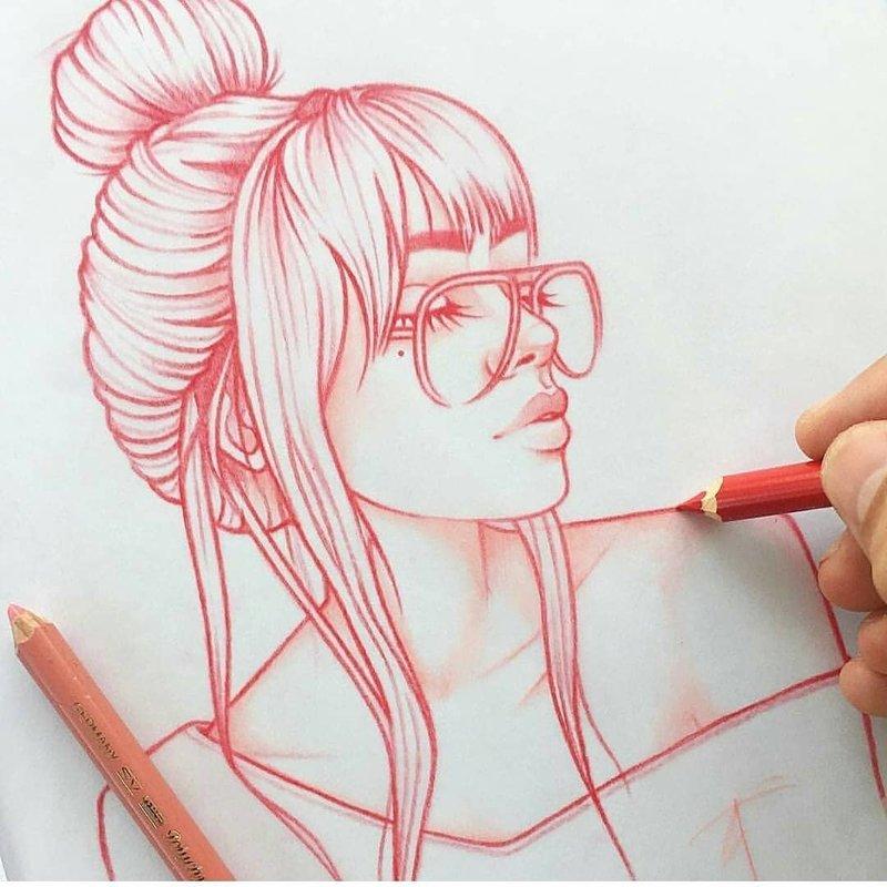 Рисунки девушек карандашом в стиле тумблер