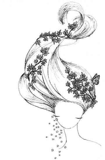Девушка с волосами для личного дневника