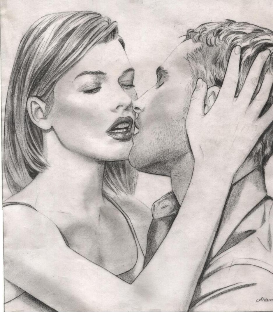 Рисованные картинки поцелуя