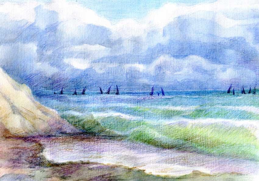 Картинки море карандашами цветными