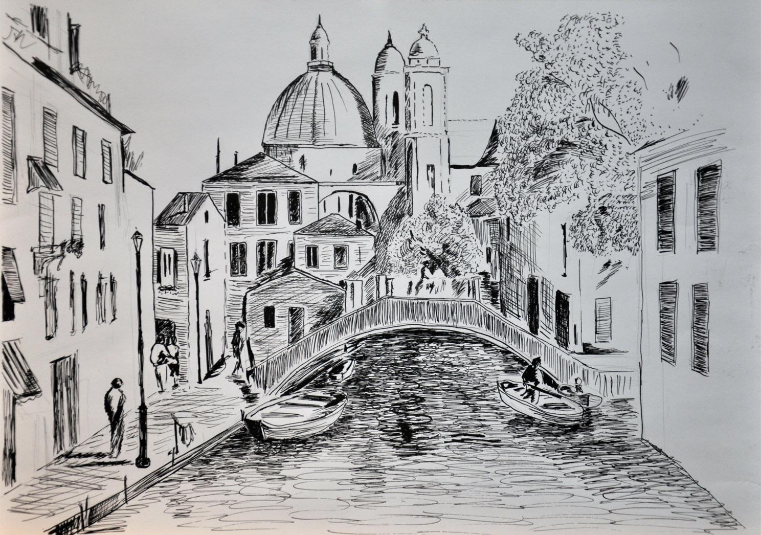 город рисунки карандашом первую очередь