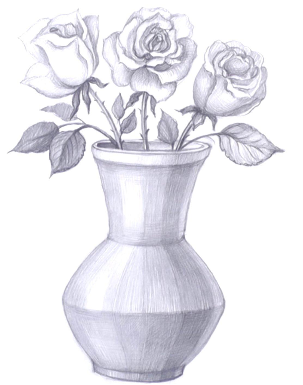 ваза с цветами рисунки простым карандашом