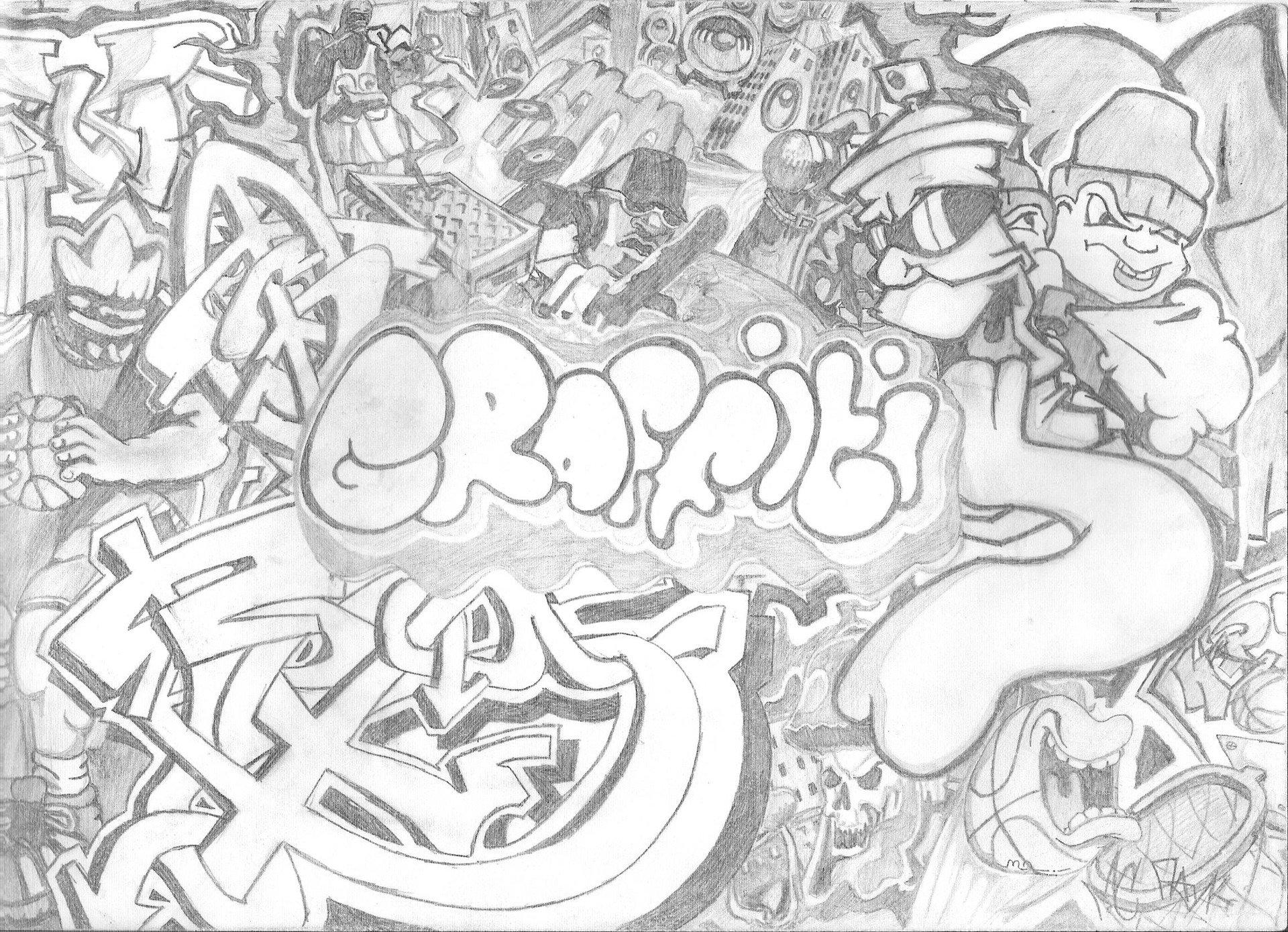 рисовать граффити на бумаге карандашом картинками иванов