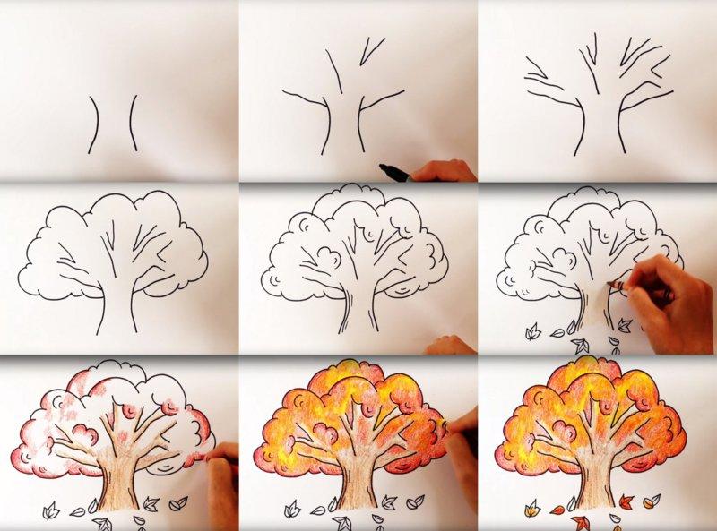 Как нарисовать пейзаж карандашом и красками