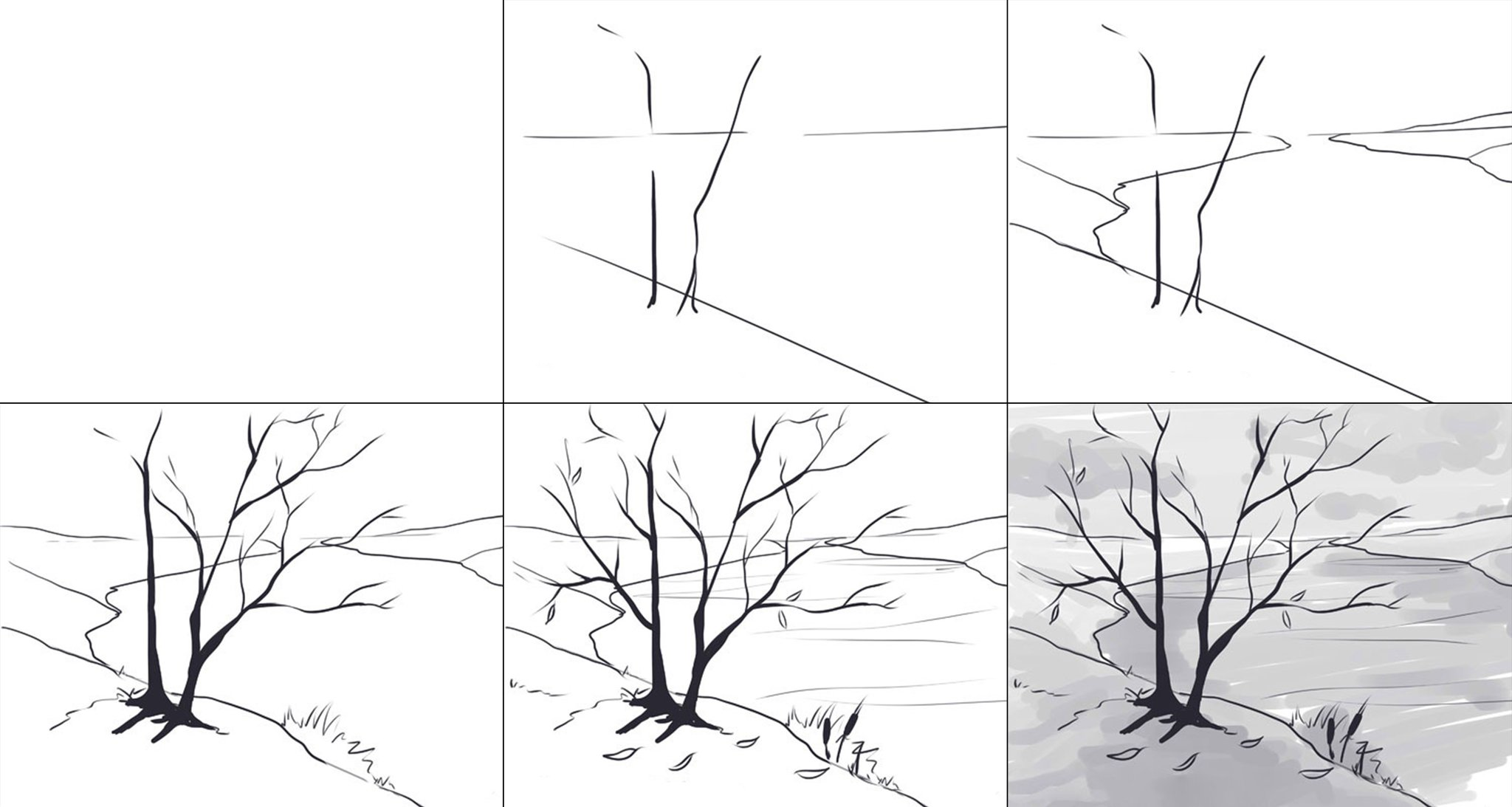 Картинки учимся рисовать пейзаж