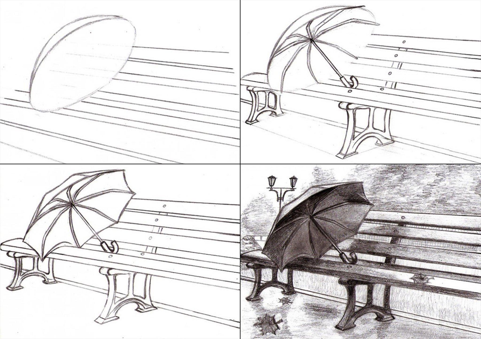 рисунки простым карандашом поэтапно пейзаж вышивки зачастую