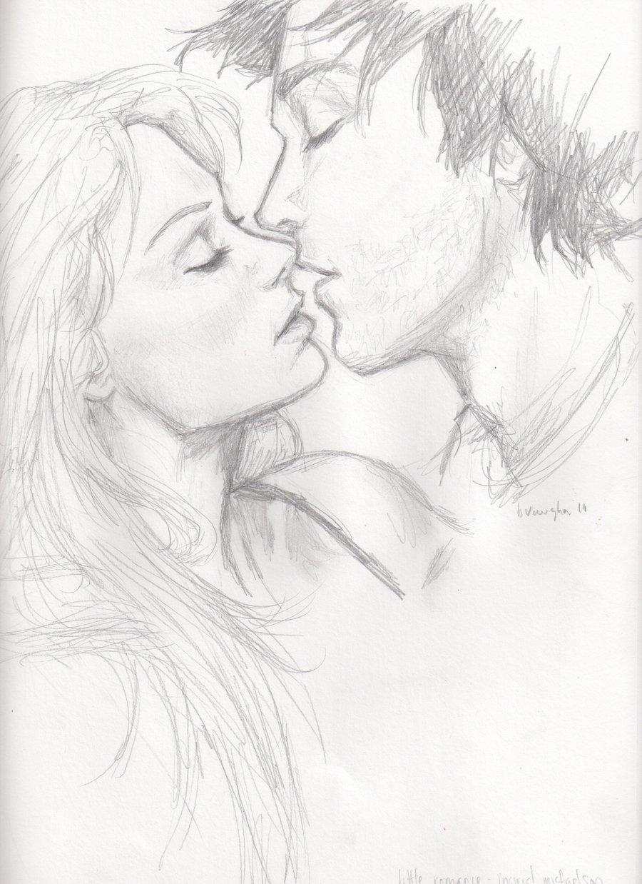 Рисунок поцелуи пары, для