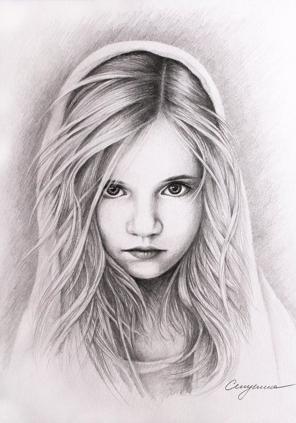 Картинки карандашом девочки красивые