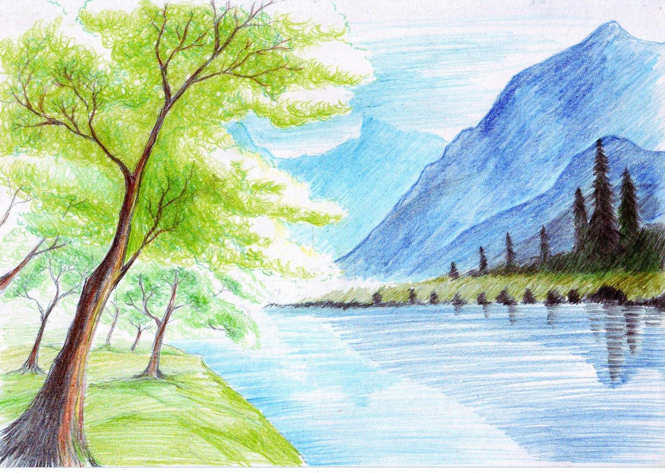 Пейзаж картинки для срисовки