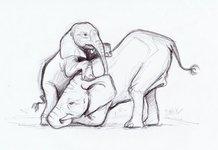 Слониха и слоненок карандашом