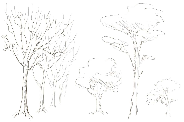 дерево в лесу рисунок карандашом может быть