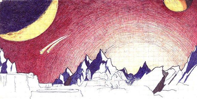Рисунки космоса простым карандашом