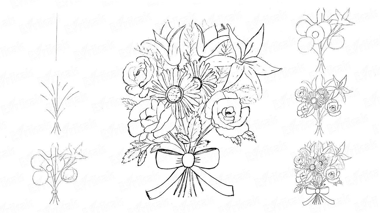 Днем рождения, цветы для открыток как рисовать